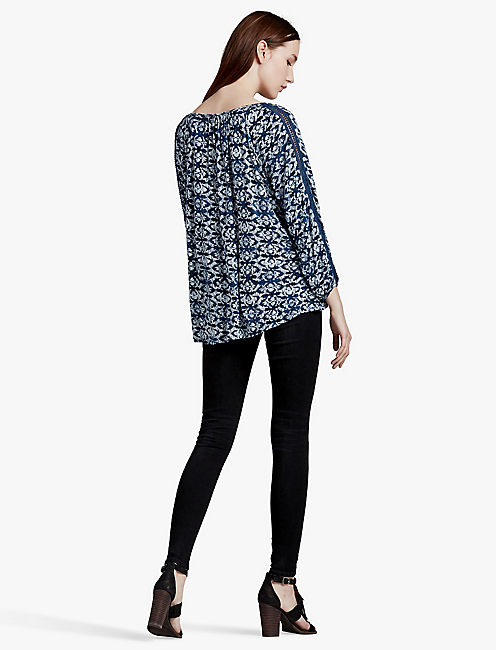 LUCKY PRINTED KNIT AND LACE TOP