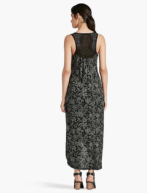 BLACK EYELET KNIT DRESS,