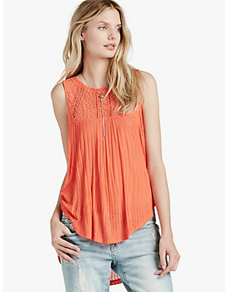 LUCKY EMBROIDERED YOKE TOP