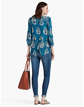 LUCKY PAISELY PRINT MIXED FABRIC HENLEY