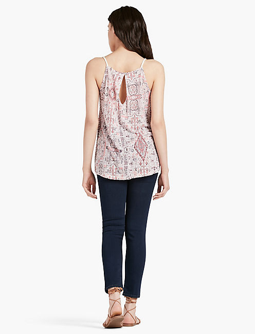 PRINTED EMBROIDERED TANK,