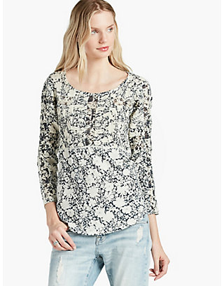 LUCKY PRINTED MIXED TRIM TOP