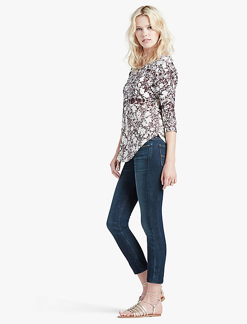 PRINTED MIXED TRIM TOP,
