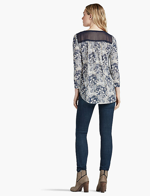 PRINTED WOVEN MIX TOP, BLUE MULTI