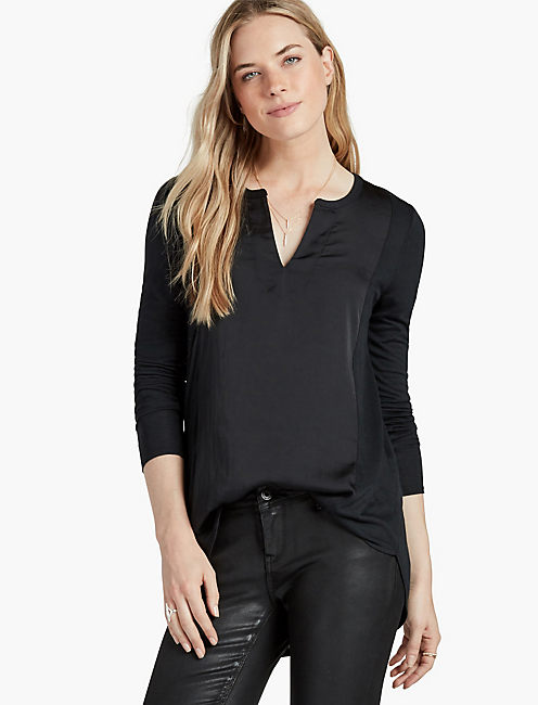 WOVEN MIX TOP, JET BLACK