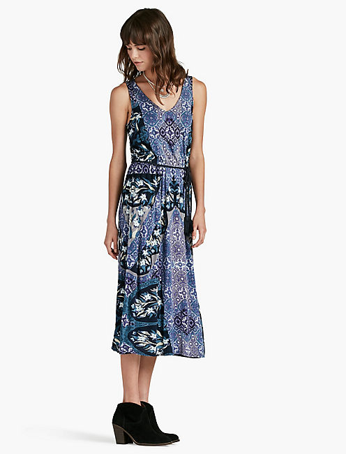 MIXED PRINTED MIDI DRESS,