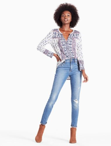 LUCKY WOODBLOCK PRINTED TOP