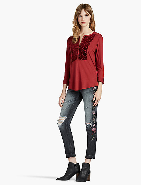 Lucky Burnout Velvet Bib Top