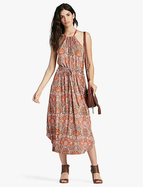 LUCKY PAISLEY PRINT MIDI DRESS