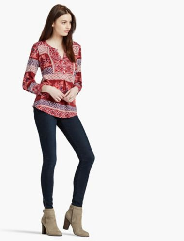 LUCKY PRINTED KNIT TOP