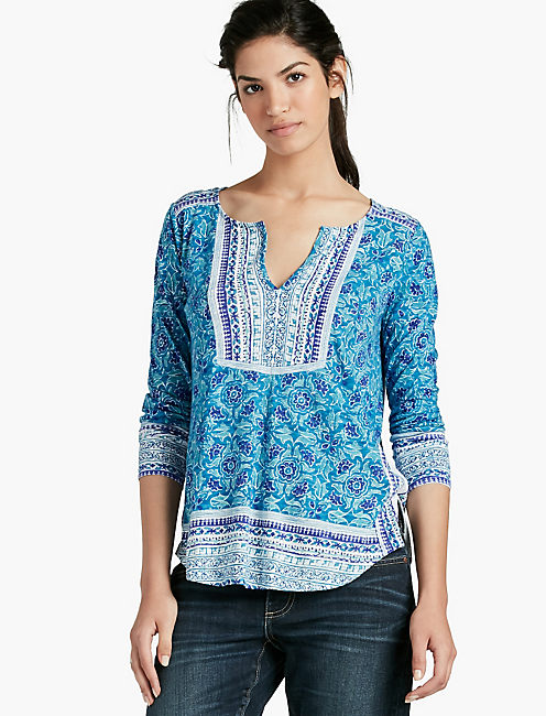 WOODBLOCK FLORAL TOP,