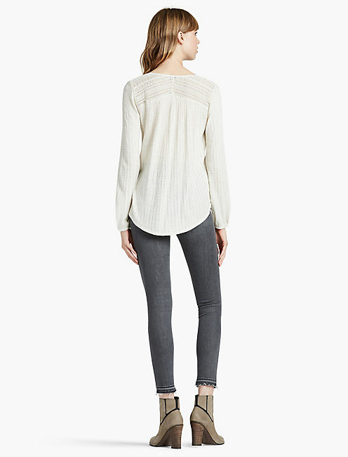 DROP NEEDLE KNIT TOP,