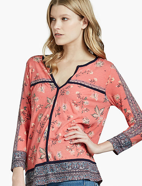 FLORAL BORDER TOP, RED MULTI