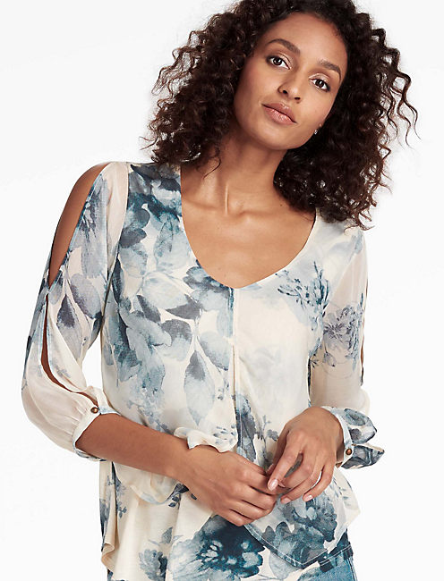 OPEN FLORAL PRINTED TOP,
