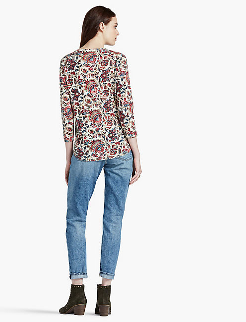 PRINTED PINTUCK TOP, MULTI