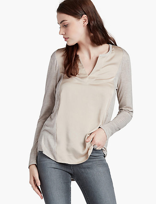 WOVEN MIX TOP, CATHAY SPICE