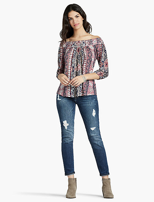 LUCKY TRIBAL PRINTED OFF SHOULDER TOP