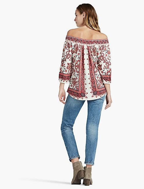 PLACED PRINT OFF SHOULDER TOP,