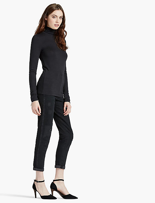 SLIM KNIT TURTLENECK, JET BLACK