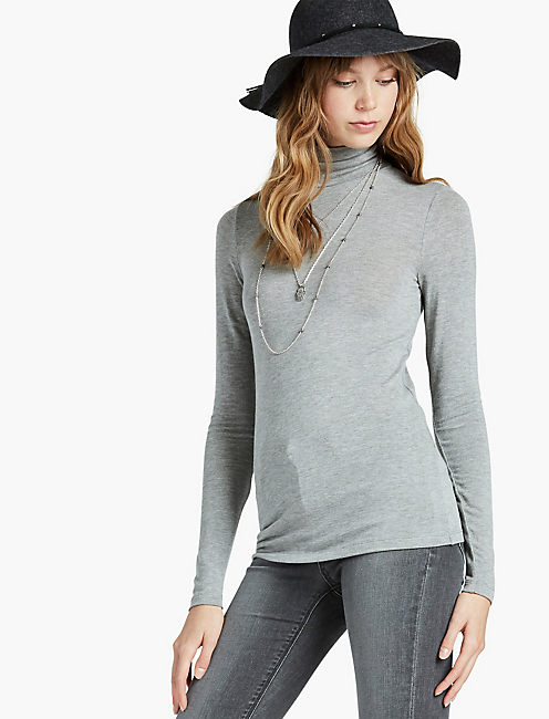 SLIM KNIT TURTLENECK, HEATHER GREY