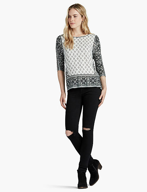 BORDER PRINT TOP, BLACK MULTI