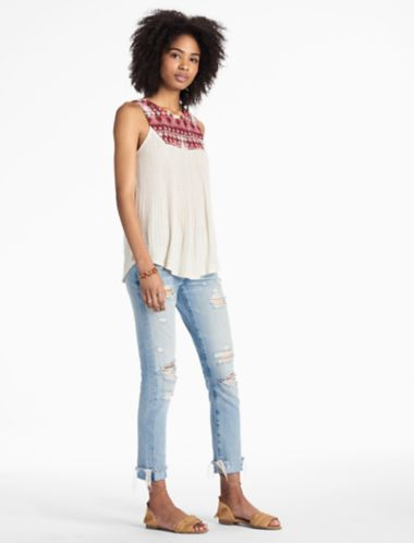 Lucky Embroidered Yoke Tank