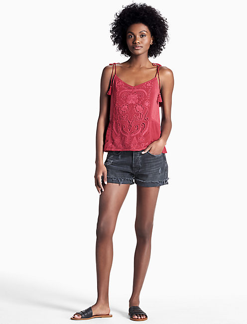 WASHED EMBROIDERED TOP, #6703 BIKING RED