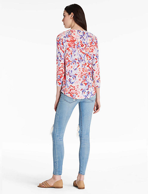 PRINTED PINTUCK TOP,