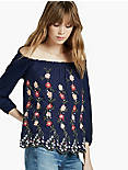EMBROIDERED OFF THE SHOULDER TOP, NAVY MULTI