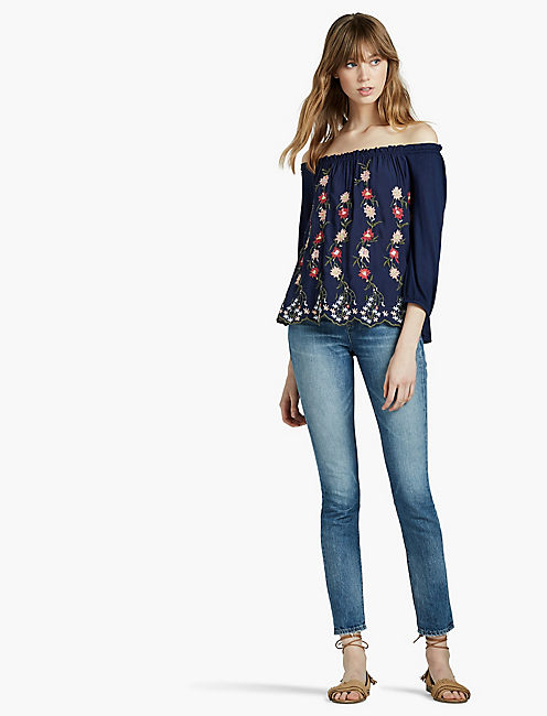 Lucky Embroidered Off The Shoulder Top