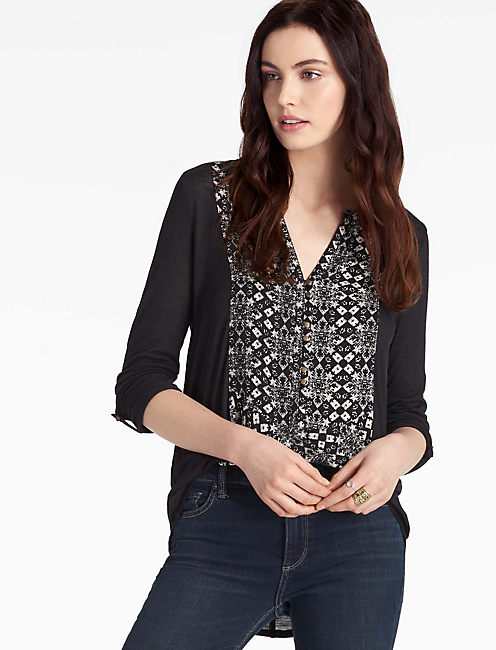 PRINTED WOVEN MIX HENLEY, BLACK MULTI