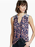 MIXED FLORAL SHELL TOP,