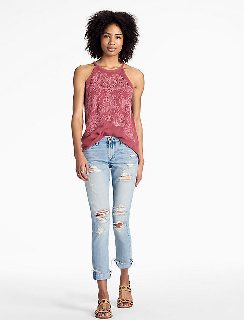 Lucky Embroidered Cut Out Top