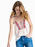 EMBROIDERED BIB TANK, EGGSHELL