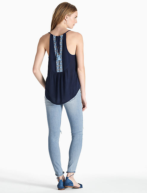 EMBROIDERED BIB TANK, AMERICAN NAVY