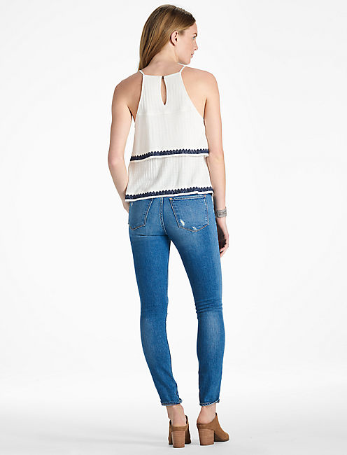 BLUE & WHITE EMBROIDERED TANK,