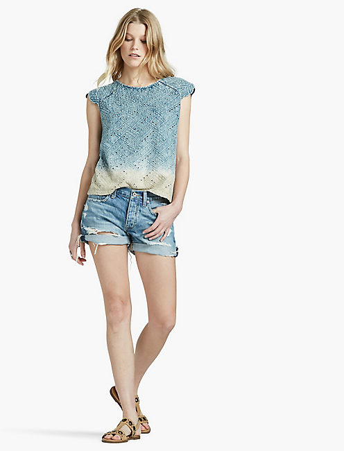 Lucky Ombre Eyelet Flutter Sleeve Top