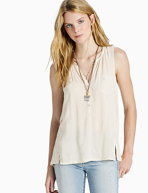 WOVEN MIX TOP, NATURAL