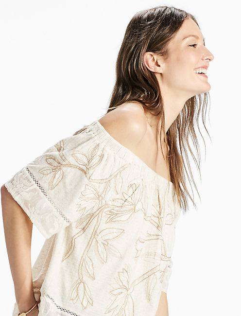 EMBROIDERED OFF THE SHOULDER, #130 NATURAL