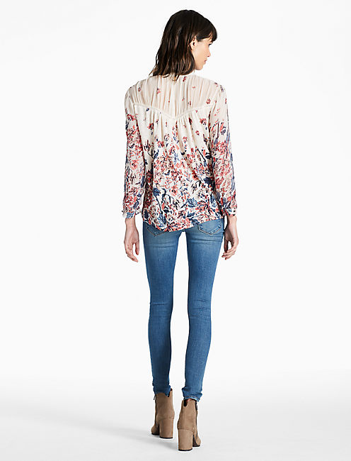 FLORAL MIX PRINT TOP, NATURAL MULTI