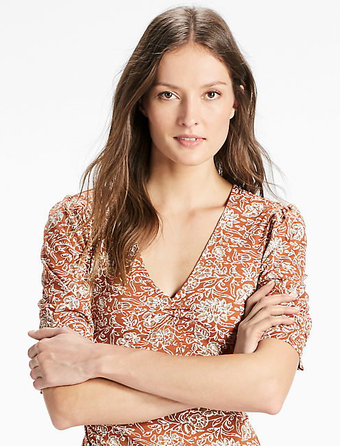 V NECK PRINTED TOP, MOCHA MULTI