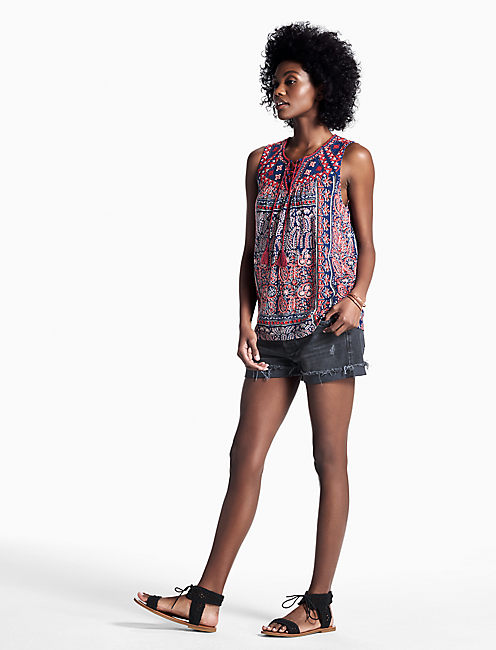 Lucky Paisley Lace Up Tank