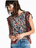 MIXED PRINT RUFFLE TOP, RED MULTI