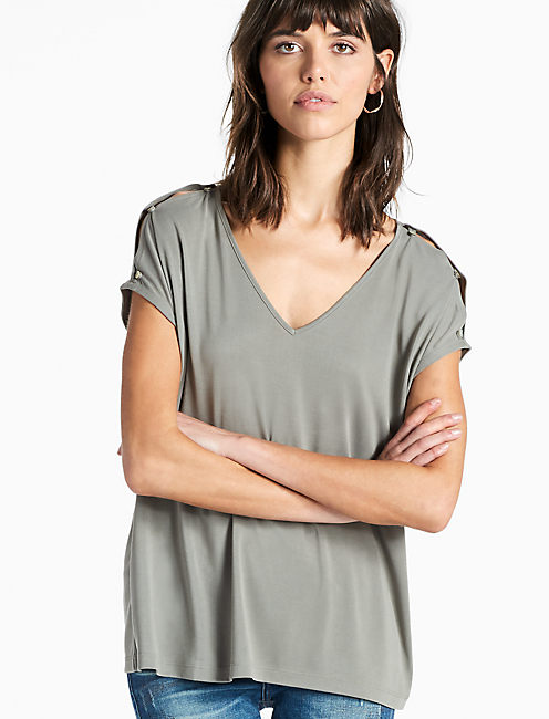BUTTON SLEEVE TEE, OLIVE