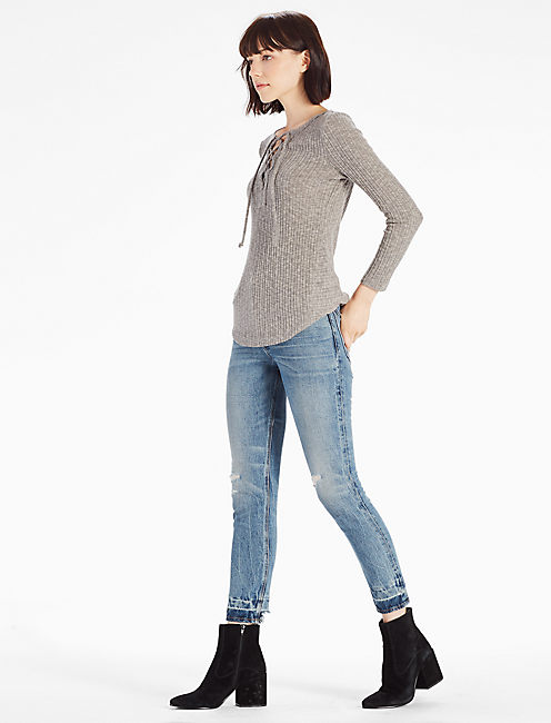 LACE-UP RIB TOP, GREY MALANGE