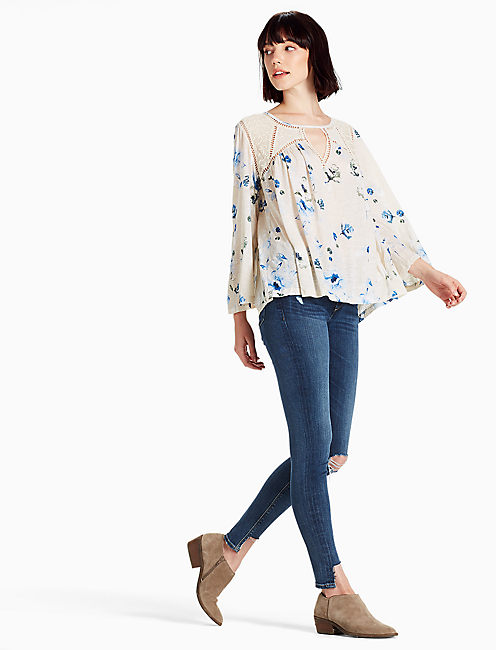 FLORAL LACE MIX PEASANT,