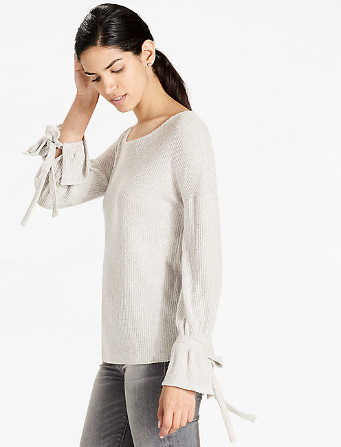 TIE SLEEVE RIB PULLOVER, HEATHER GREY