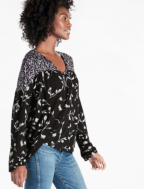BOUQUET MIX PRINT TOP, BLACK MULTI