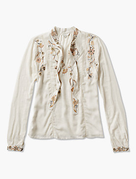 TIE NECK EMBROIDERED TOP
