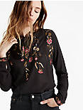 TIE NECK EMBROIDERED TOP,